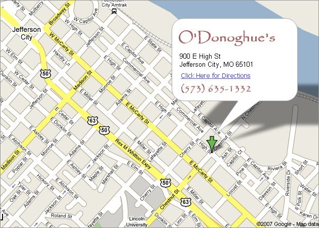 Directions to O'Donoghue's in Jefferson City, MO
